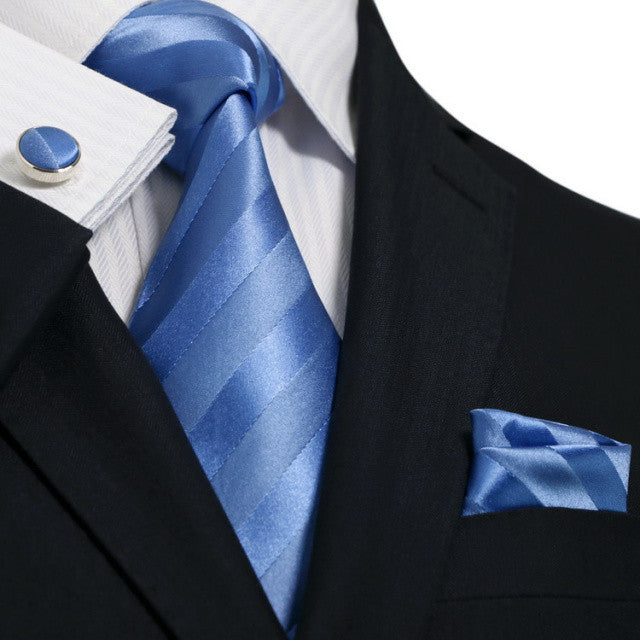 Lt. Blue Stripe Silk Necktie Set JPM1856W
