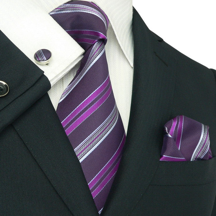 Purple Striped Silk Necktie Set JPM1858E