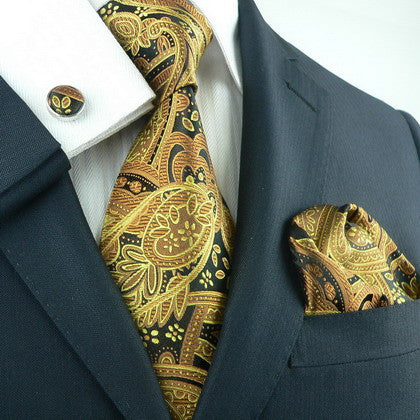 Brown,Black and Gold Paisley Necktie Set  JPM651