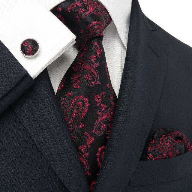 Black and Red Paisley Necktie Set JPM660 - Toramon Necktie Company