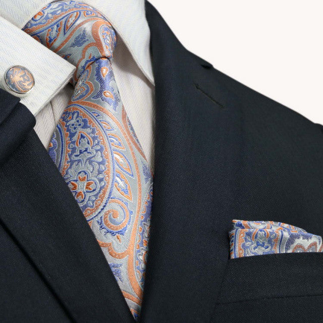 Grey,Peach and Blue Paisley JPM1867T - Toramon Necktie Company