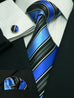 Blue and Black Stripe Silk Necktie Set JPM69H - Toramon Necktie Company