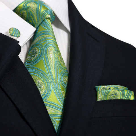 Green and Teal Paisley Wedding Tie Set  JPM71G - Toramon Necktie Company