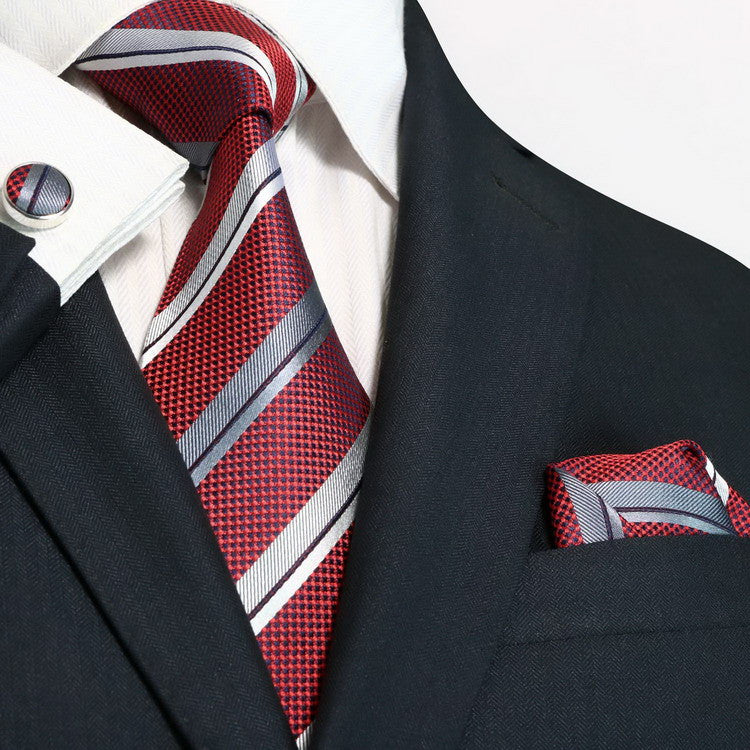 Burgundy and Grey Necktie Set JPM75N - Toramon Necktie Company