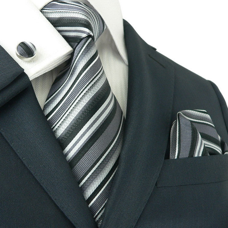 Black,Gray and White Silk Necktie Set JPM84C