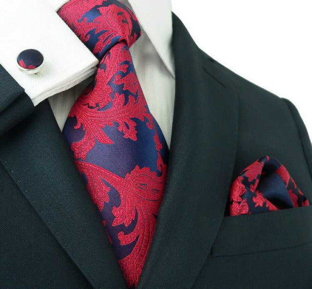 Navy and Red Paisley Toramon Silk Tie Set JPM86A - Toramon Necktie Company