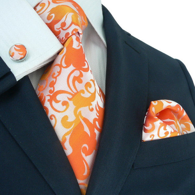 Orange Floral Toramon Silk Tie Set JPM88F