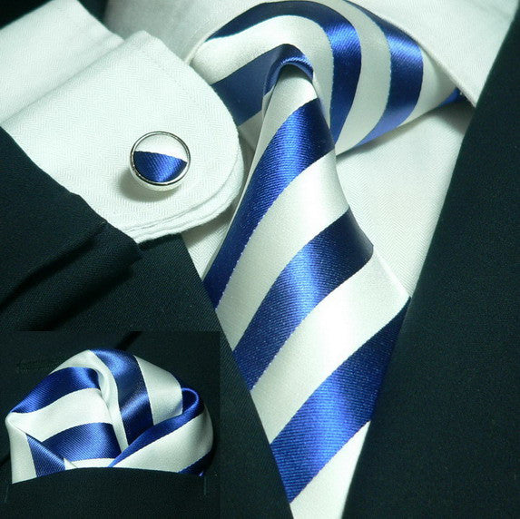Blue and White Stripe Necktie Set JPM91A - Toramon Necktie Company