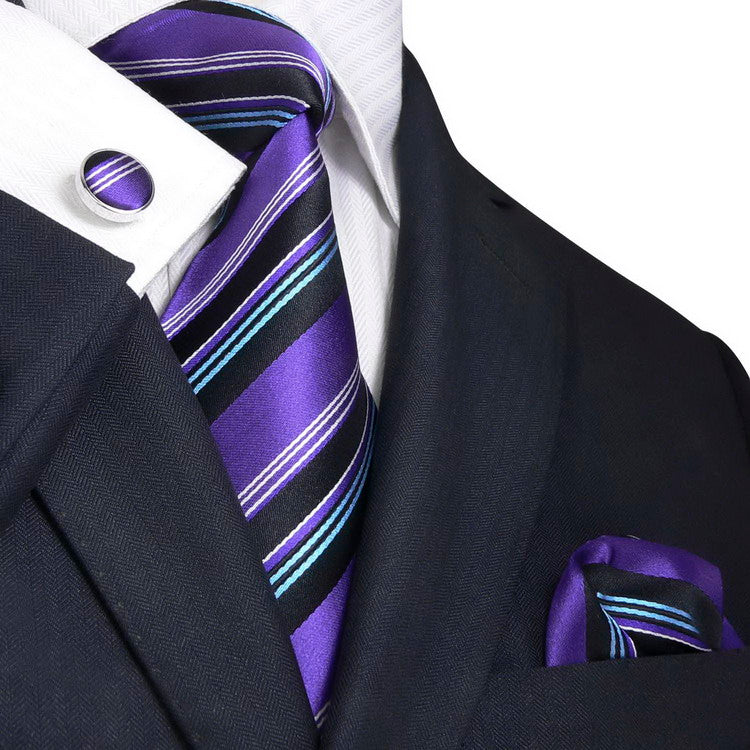Purple Black Teal Silk Necktie Sets-JPM93M