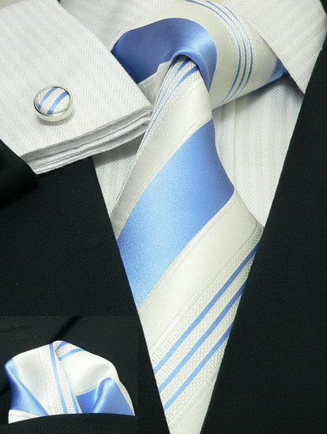 Blue and White Stripe Necktie Set JPM94F - Toramon Necktie Company