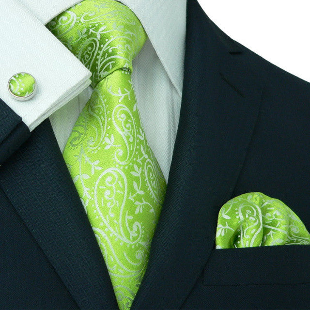Lime Green Paisley Wedding Tie Set JPM1897H - Toramon Necktie Company