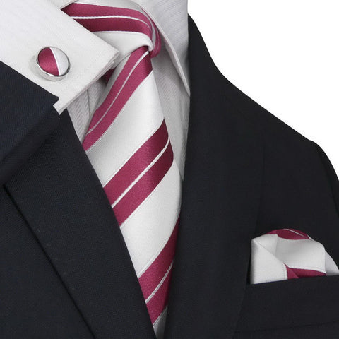 Red and White Stripe Necktie Set JPM98M