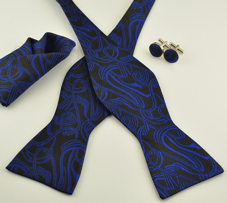 Blue and Black Floral Silk Bow Tie Set BTS7352 - Toramon Necktie Company