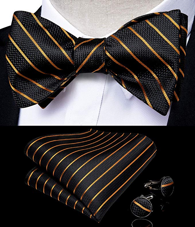 Black and Gold  Stripe Bow Tie Set-BTS468