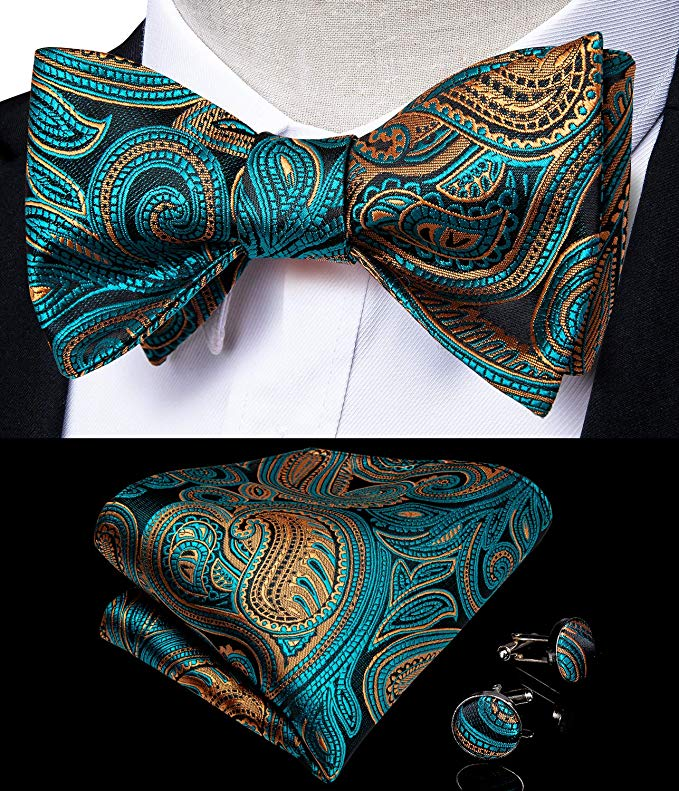 Teal and Gold Paisley Bow Tie Set-BTS471