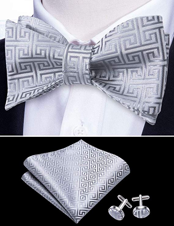 Grey Greek Key Bow Tie Set-BTSYO501