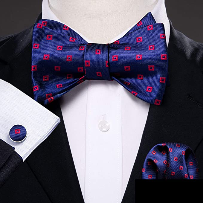 Blue and Red Silk Bow Tie Set-BTSYO507