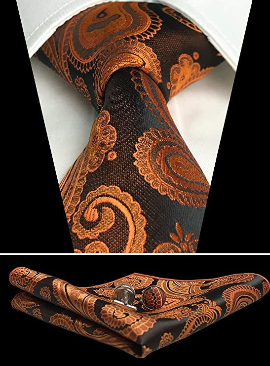 Burnt Orange Paisley Necktie Set-CAN105