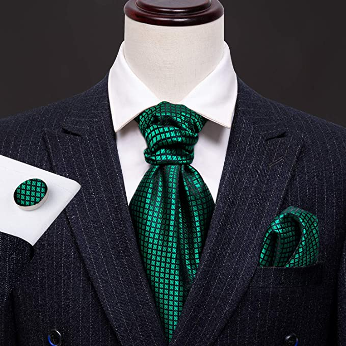 Green and Black Silk Cravat Tie Set-CBW104