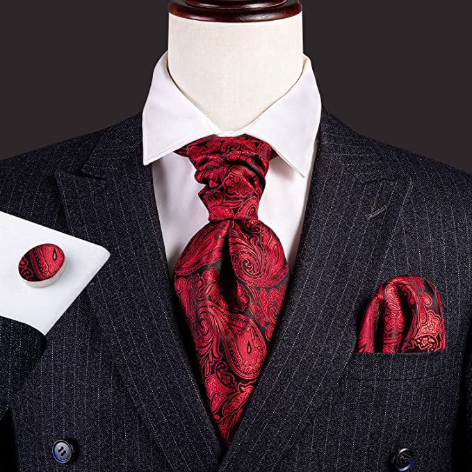 Red and Black Paisley Cravat Tie Set-CBW110