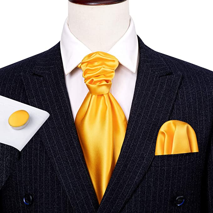 Yellow Solid Cravat Tie Set-CBW111