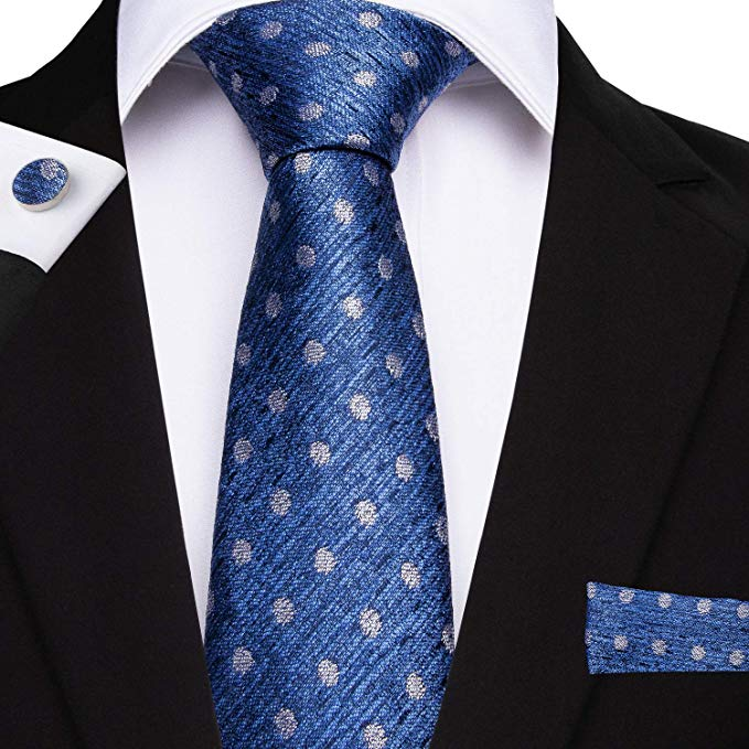Blue and Gray Silk Necktie Set DBG201