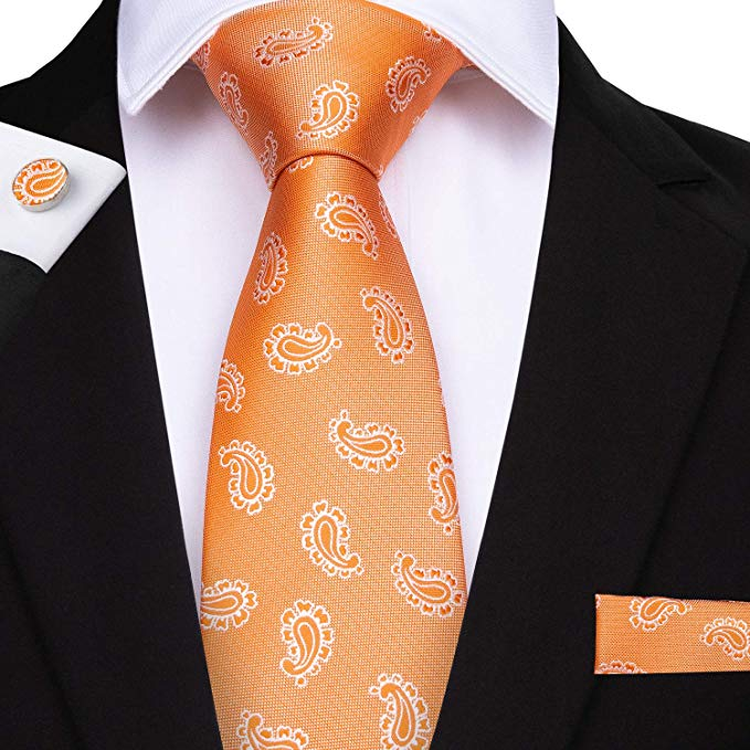 Orange Paisley Silk Necktie Set DBG203