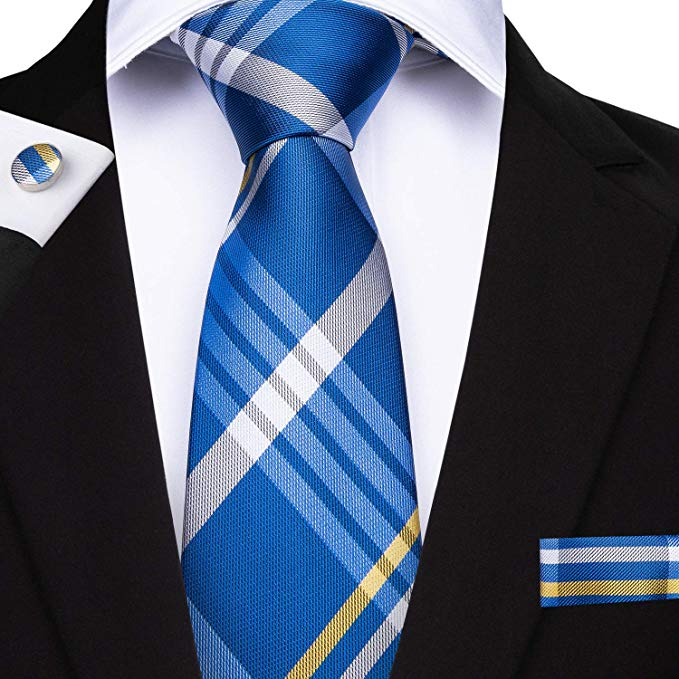 Blue White Gray Yellow Silk Necktie Set DBG209