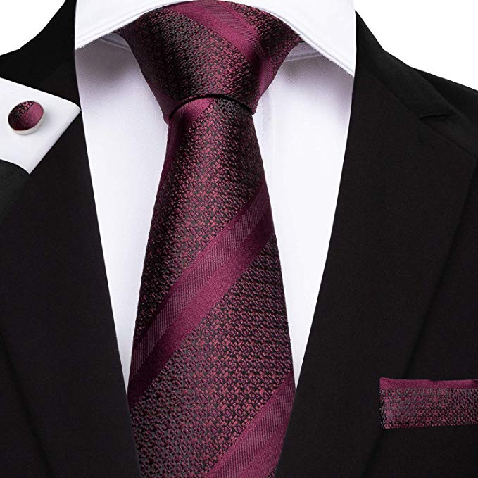 Burgundy Silk Necktie Set DBG211