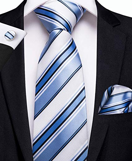 White and Blue Stripe Necktie Set -DBG313