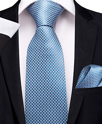 Lt. Blue Silk Necktie Set -DBG314