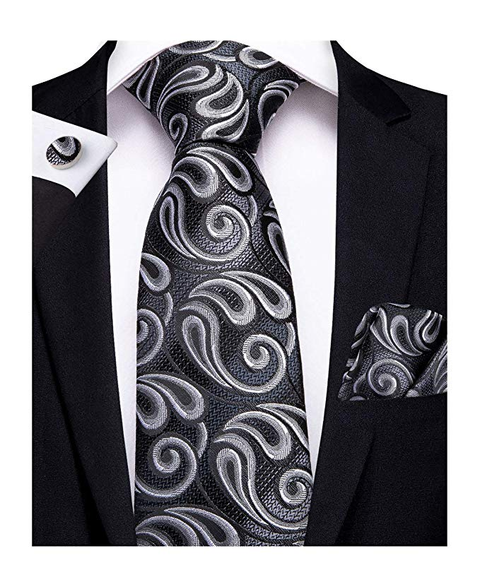 Gray and Black Paisley Necktie Set-DBG383
