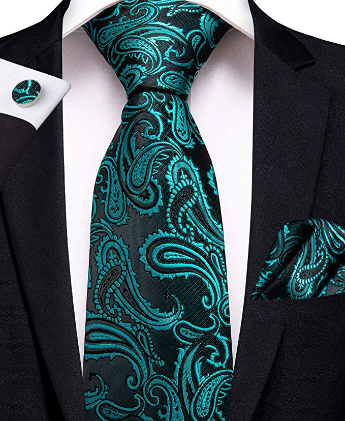 Turquoise and Black Silk Piasley Necktie Set-DBG385