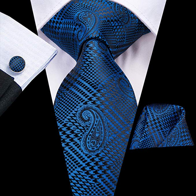 Blue and Black Silk Necktie Set-LBW423