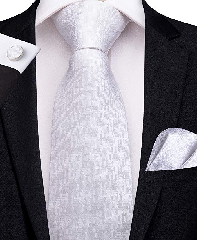 Solid White Silk Necktie Set-DBG424