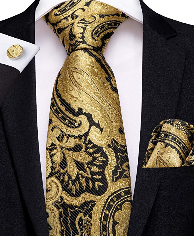 Gold and Black Paisley Necktie Set-DBG443