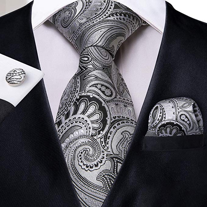Silver and Black Paisley Necktie Set DBG-446