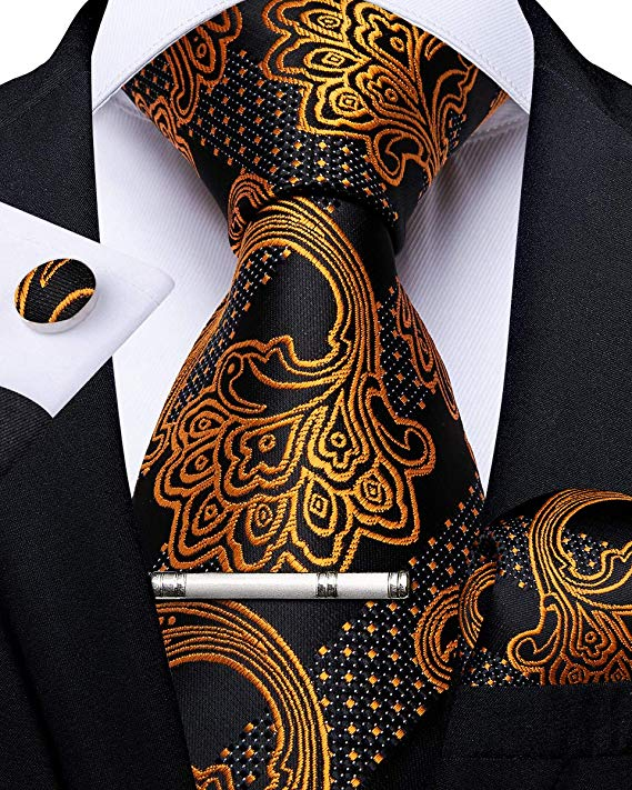 Rust Gold and Black Paisley Stripe Necktie Set -DBG460
