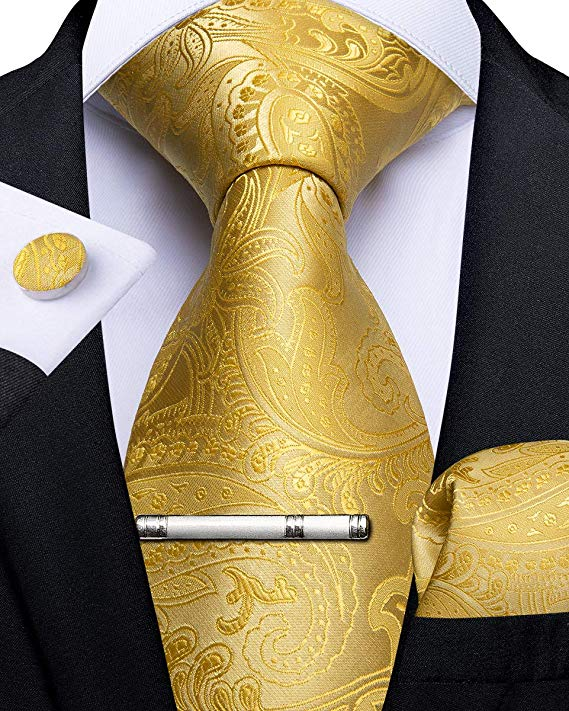 Yellow Gold Paisley Necktie Set-DBG461