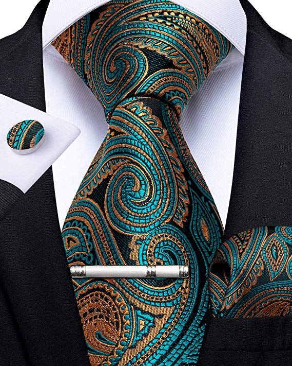 Teal and Gold Paisley Necktie Set-DBG463
