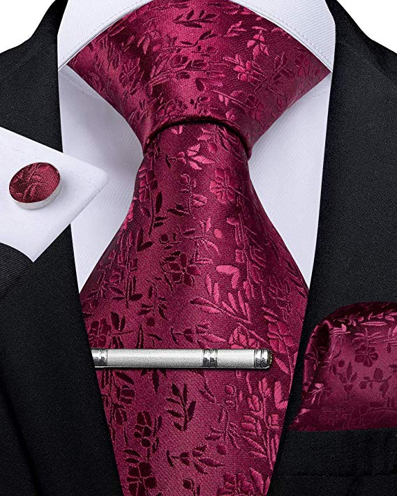Burgundy Silk Necktie Set-DBG465