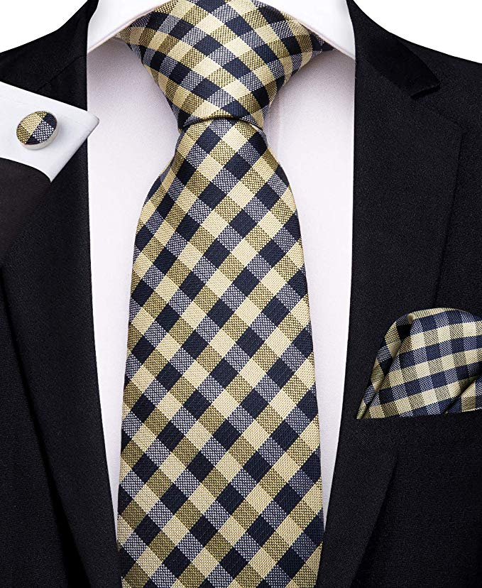 Yellow and Black Plaid Silk Necktie Set-DBG468