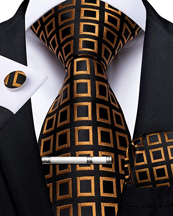 Black and Gold Silk Necktie Set-DBG470