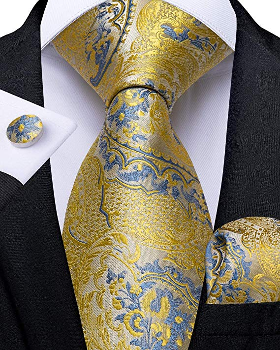 Blue and Yellow Silk Paisley Necktie Set-DBG478