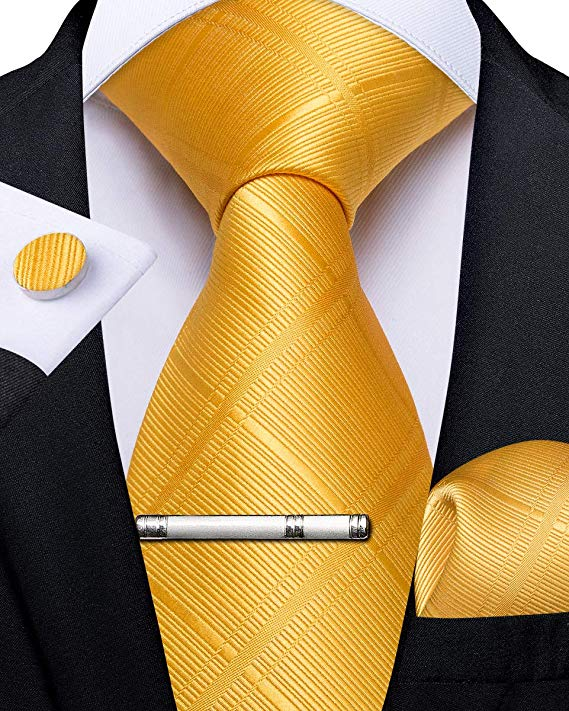 Bright Yellow Silk Necktie Set-DBG482