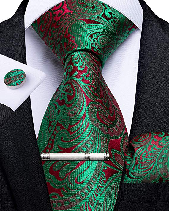 Green and Red Paisley Necktie Set-DBG492