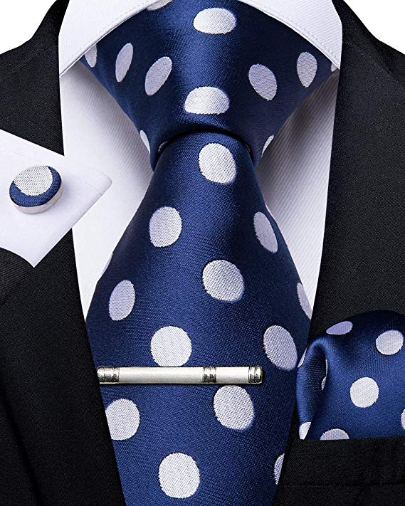 Blue and White Polka Dot Necktie Set-DBG494