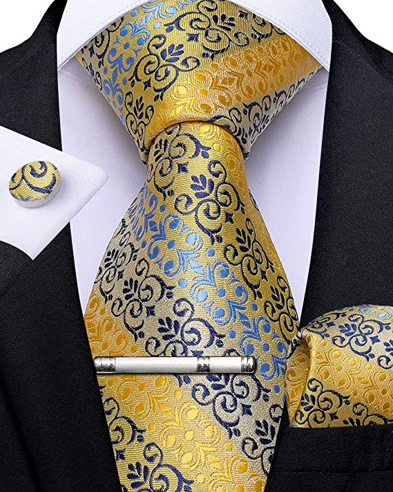Yellow Lt. Blue and Navy Silk Necktie Set-DBG504