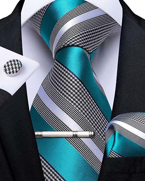 Teal and Gray Necktie Set-DBG511