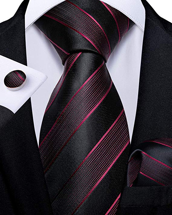 Black and Burgundy Striped Necktie Set-DBG512